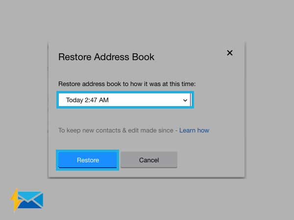 restore all contacts in Yahoo mail