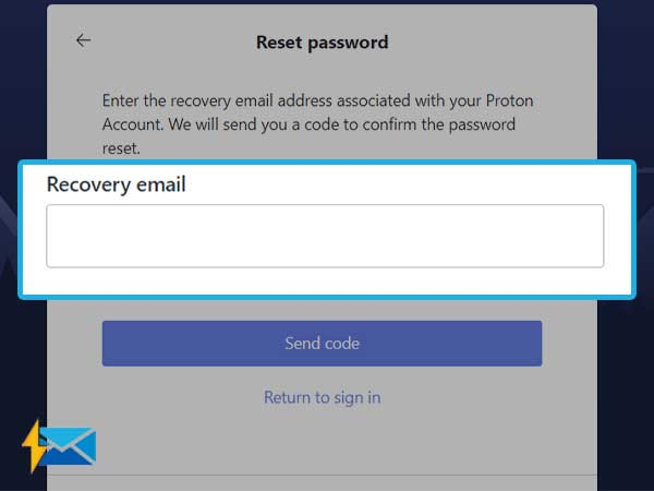 Enter ProtonMail recovery email