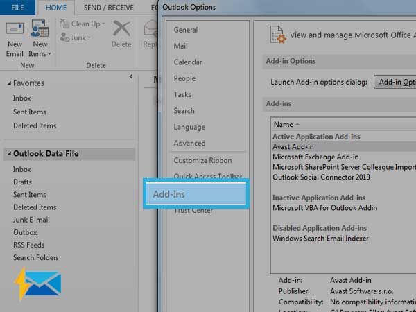 On Outlook, open File>>Options>>Add-ins