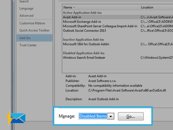Open Manage>>Disable Items>>Go on Outlook