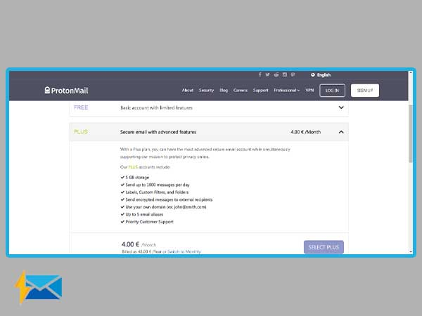 select ProtonMail sign-up plan