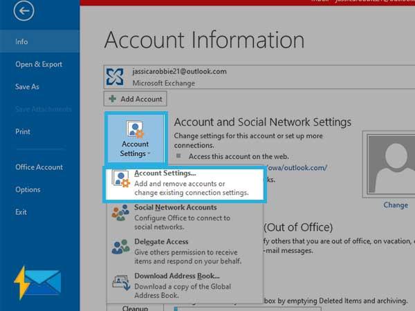 open Account settings on Outlook