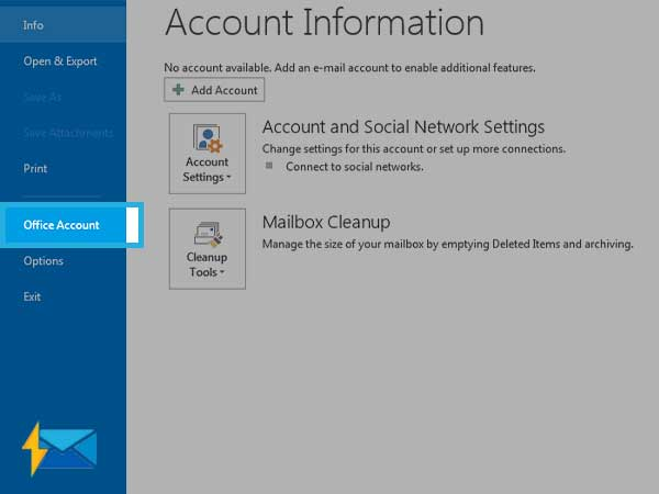Open Office Accounts on Outlook