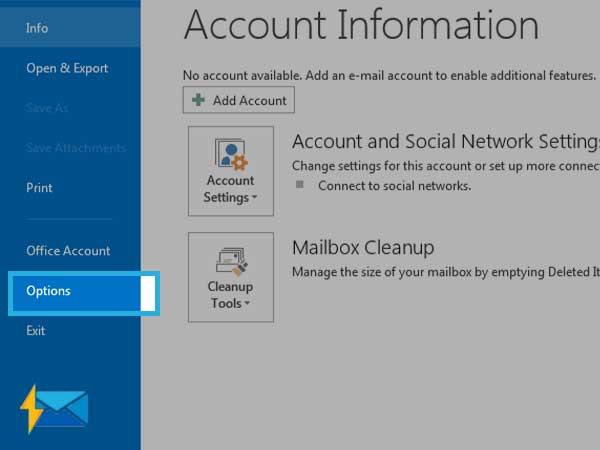 alt: Open Options on Outlook