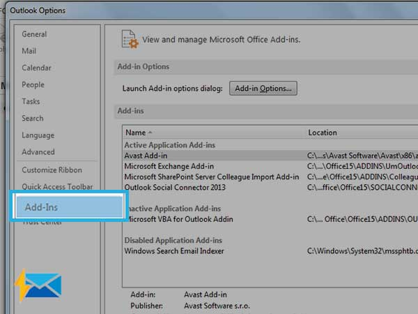 Select Add-ins in Outlook Options